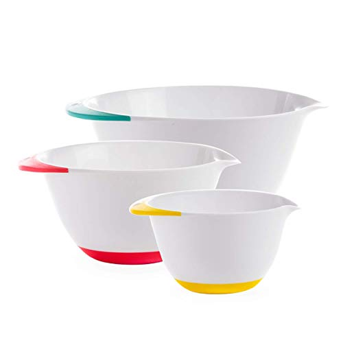 BINO 3-Piece Plastic Mixing Bowls with Pour Spout and Handles Set, White - Mixing Bowls for Kitchen Mixing Bowls Set Nesting Bowls Baking Bowls Baking Bowl Mixing Bowl Set Large Plastic Bowls