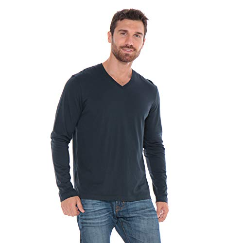 Men's Designer T-Shirt Lightweight Semi Fit Long Sleeve V-Neck 100% Organic Cotton Pre-Shrunk Embroidered - Made in USA (Navy Blue, X-Large)