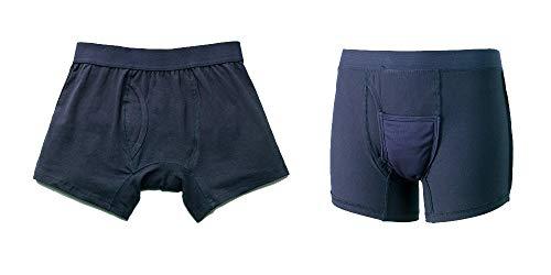 尿漏れパンツ ちょいモレ吸水パンツ (Lサイズ, ネイビー同色2枚組) 失禁おねしょパンツ メンズ『爽やかボクサーパンツ』【2枚組】 (ネイビー, Lサイズ)