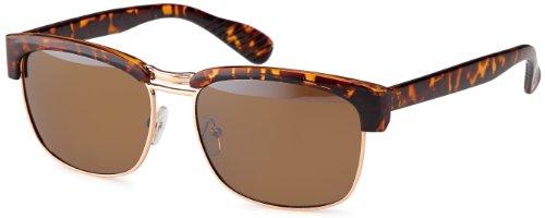 Vintage Sonnenbrille Luc im angesagten 50er Jahre retro Browline-Style mit markantem Halbrahmen in Hornoptik + Brillenbeutel (Braun/ohne Verlaufsglas)