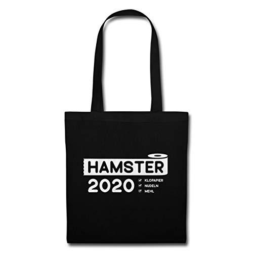 Spreadshirt Hamster 2020 Nudeln Mehl Check Stoffbeutel, Schwarz