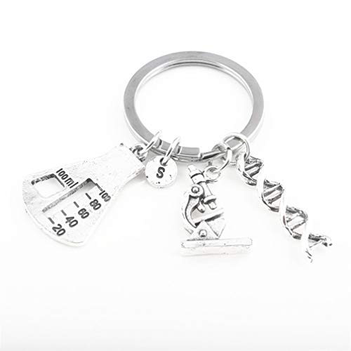 SONGLIN Key Chain Chemical Biological Experimental Tool DNA Spiral Medical Microscope Tripod Gene Key Chain Necklace Pendant for Women Men Accessories