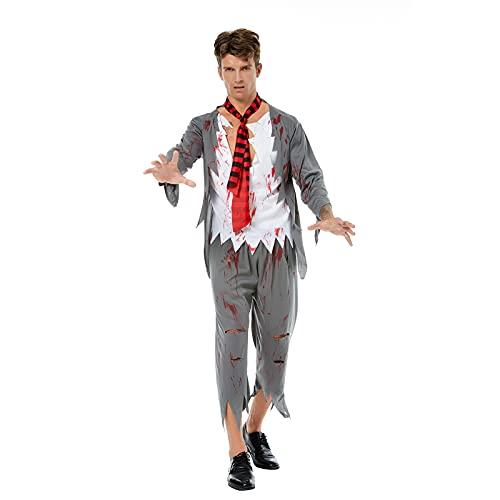 Kahbin Disfraz de fantasma de zombie, para Halloween, para el hospital, para disfraz de fantasma, para cosplay, gris, M