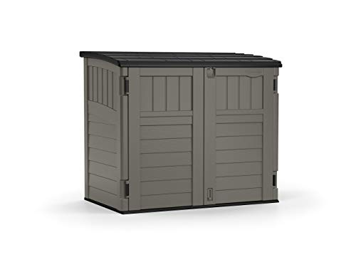 Suncast 4' x 2' Horizontal Storage Shed - Natural Wood-Like Outdoor Storage for Trash Cans and Yard Tools - All-Weather Resin Material, Hinged Lid Design and Reinforced Floor - Stoney
