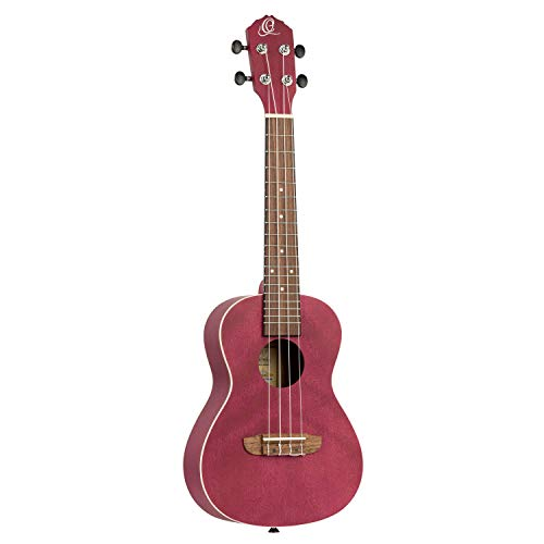 Ortega Guitars Earth Series Concert Ukulele - Acústica Raspberry Red (RURUBY) Frambuesa, concierto
