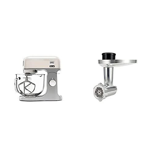 Kenwood kMix Stand Mixer for Baking, Stylish Kitchen Mixer with K-Beater, Dough Hook and Whisk, 5L Glass Bowl, Removable Splash Guard, 1000 W, Cream & KAX950ME Food Mincer Attachment