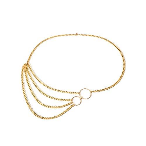 BXGZXYQ Moda metal sexy borla multicapa cuerpo cadena cintura cadena cuerpo collares for mujeres collar de cadena muslo joyería cadenas (Color : Golden, Size : 115cm)