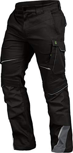 LEIB WÄCHTER Flex-Line Arbeitshose Bundhose Premium schwarz-grau mit Spandex (52)