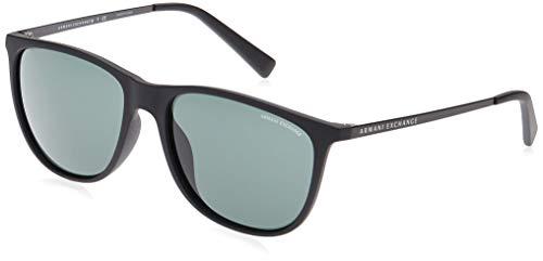 A|X Armani Exchange AX4047SF - anteojos de sol cuadradas de ajuste asiático, mate, verde, gris, negro (Matte Black/Grey Green), 57 mm