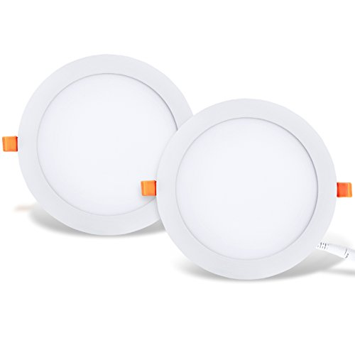 LVWIT 2x Placa circular LED de Techo - 25W equivalente a 200W, Downlight empotrable de 2000 lúmenes, Color blanco neutro 4000K, Transformador Incluido. 225 x 21mm - Pack de 2 Unidades.