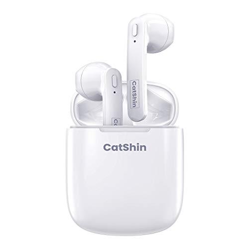 CatShin Auricolare Bluetooth, Auricolari Wireless Bluetooth 5.0 TWS, Microfono Incorporato per Auricolare (per Telefono Cellulare/Android/iOS) Scatola di Ricarica Portatile, connessione affidabile