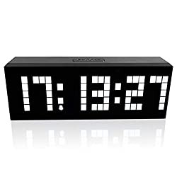 m·kvfa Multi-Function Remote Control Luminous Digital Timer 6-bit 5 Segment LED Clock Desktop Table Clocks Low Power Consumption for Airport Exhibition Hall Office Hospital Hotel (White)