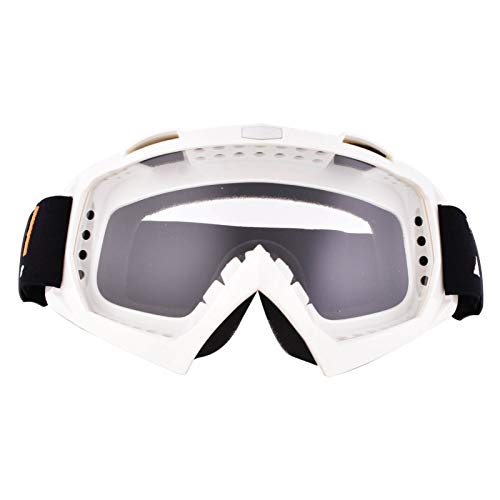 Motorcycle Goggles,ATV Dirt Bike Goggles-Anti UV Safety Goggles Windproof Dustproof Motocross Goggles Anti Scratch Motorcycle Glasses for Cycling Riding / Climbing / Skiing (White Frame)