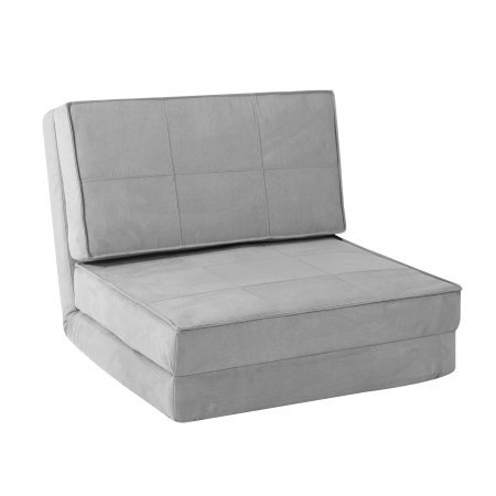 Flip Chair Convertible Sleeper Dorm Bed Couch Lounger Sofa in Silver
