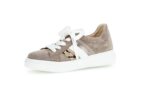 Gabor Damen Sneaker, Frauen Low-Top Sneaker,Best Fitting,Optifit- Wechselfußbett, schnürschuh sportschuh Plateau-Sohle,Visone Kombi,38 EU / 5 UK
