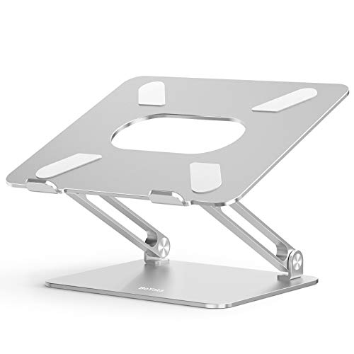 BoYata BST-10 (Silver) Laptop Stand, Tablet Stand, Adjustable Height/Angle, Improves Posture, Relieves Lower Back Pain/Cat Backs, Foldable, Laptop Stand, Non-Slip, Aluminum Alloy, Compatible with 17 Inches (Silver)