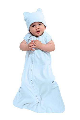 Cuddle Club Baby Schlafsack aus Baumwollstoff, tragbare Schlafsack, Bear - Blue, Small