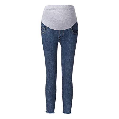 FRAUIT Pantaloni Premaman Prenatal Pantalone da Gravidanza Jeans Elastico a Vita Alta maternità