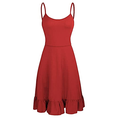 Sokhug Vestido de maternidad sin mangas de las mujeres con volantes dobladillo Swing vestido casual camisola de enfermería vestidos de lactancia, L, Rojo