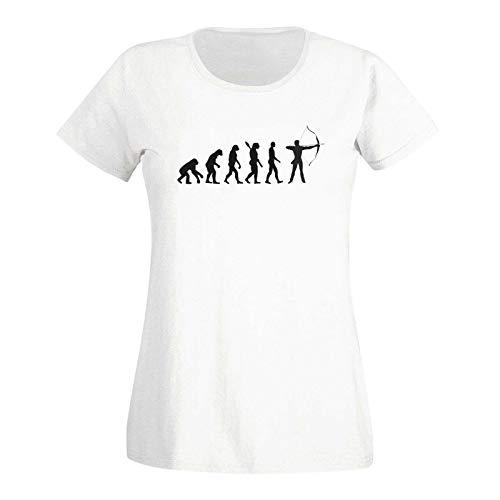 T-Shirt Evolution Bogenschütze Kyudo FITA Robin Hood 15 Farben Damen XS - 3XL IFAA DBSV Sport 3D-Schießen Langbogen Zielscheibe Pfeil Jagd, Größe:2XL, Farbe:Weiss - Logo schwarz