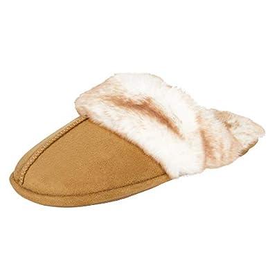 Jessica Simpson Women's Comfy Faux Fur House Slipper Scuff Memory Foam Slip on Anti-skid Sole, Tan, Large