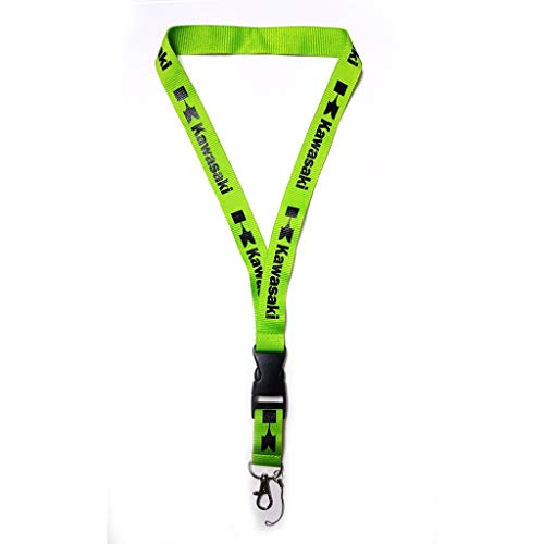 "Kawasaki Fluorescent Green Super Bike Accessory Fabric Lanyard Neck Strap Detachable Clip Black Stripe Wide 1"" for Car Key ID Card Mobile Phone Badge Holder"
