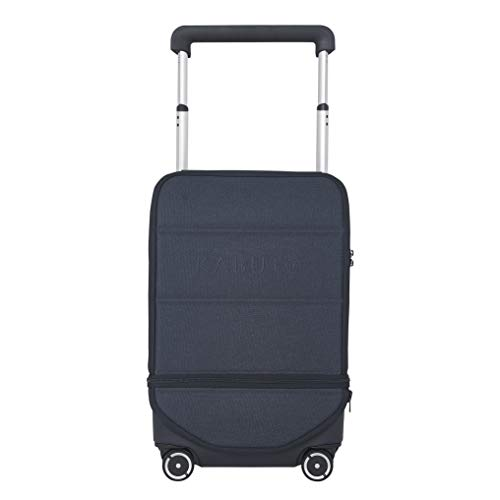 Expandable Carry-on I Kabuto 4x4 I 55 cm Vertically, Cabin Authorized Powerbank, Removable Laptop Compartments, Silent Wheels, TSA Fingerprint (Dark Blue Silver)