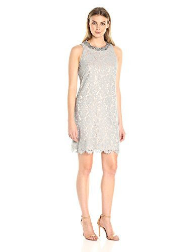 Eliza J Women's Beaded Shift Dress, Gray, 6