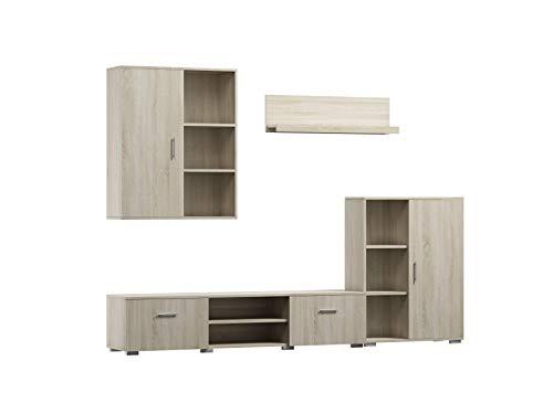 Per La Vita Wohnwand Ikar, Schrankwand Wohnzimmer Modern, Wohnzimmerschrank mit Hängeschrank, Fernsehtisch, Sideboard und Wandregal, Wohnzimmer Komplett Möbel - Sonoma
