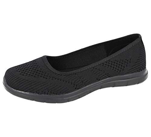Zapatillas de lona de malla de espuma viscoelástica para mujer, color Negro, talla 38 EU