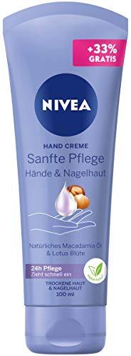 NIVEA Crema de manos suave (100 ml), crema nutritiva con aceite de macadamia y flor de loto, cuidado intensivo de manos y cutículas.