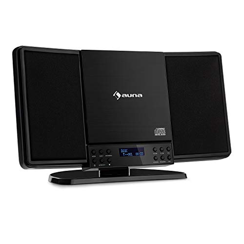 auna V14-DAB - Equipo estéreo Vertical, Bluetooth, Radio FM, Dab+, Reproductor de CD, Display, Entrada AUX, Temporizador de Apagado, Apto para Montar en Pared, Antena, Mando a Distancia, Negro