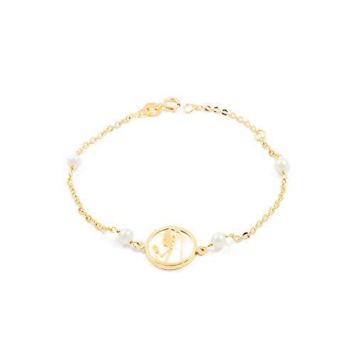 Pulsera oro Virgen niña con nacar y perlas (18Kts)