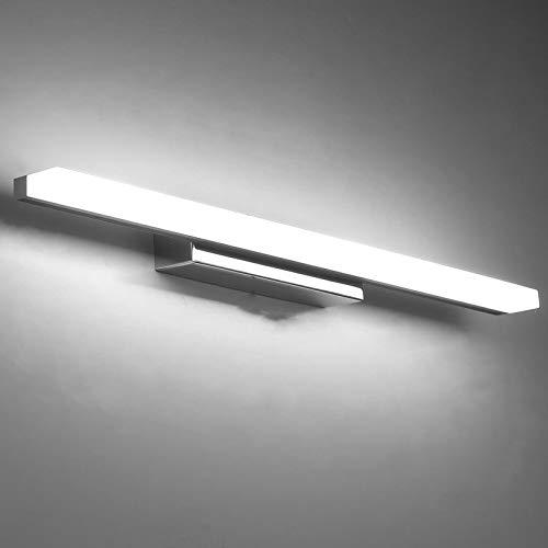 Yafido Aplique Espejo Baño Interior LED 50CM luz Baño Lámpara de Pared Espejo Iluminación para Maquillaje 12W Blanco Frío 6000K 1000LM No-regulable