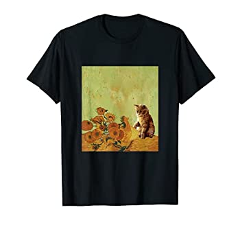 Sunflowers by Vincent Van Gogh and funny cat art meme T-Shirt