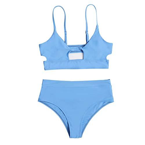 Traje de Baño de Bikini Dividido de Cintura Alta Sexy Halter de Color Sólido de Moda para Mujer Brasileños Bañador Ropa de Dos Piezas