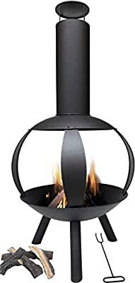 MaxxGarden garden fireplace - garden stove, steel grill, patio stove Black by MaxxGarden