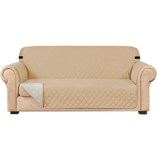 subrtex Gesteppt Sofabezug Reversibel Möbelschutz mit Gummiband schonbezug Sessel Möbelschoner Stuhlüberzüge für Wohnzimmer Sofas(3 Sitzer,Sandfarbe)