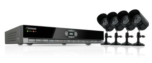 Defender SN502-4CH-001 4-Channel H.264 DVR with 4 Indoor/Outdoor Night Vision Cameras - Black