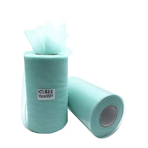 funnyjojo Super suave de 6 pulgadas x 50 yardas (150 pies) de tul Roll - Ducha de vestir falda del tutú del bebé Mint Blue