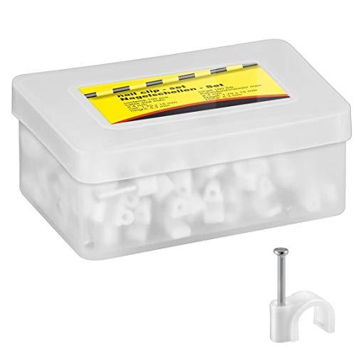 100x Kabelschelle | 4 mm | Nagelschelle Kabelklemme Kabelhalter Haftclips mit eingestecktem Nagel | Höhe: 5,3 mm | Weiß | 100 Stück