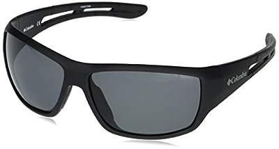 Columbia Men's Utilizer Wrap Sunglasses, Matte Black/Smoke Polarized, 62 mm