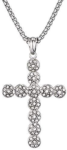 NC128 Collar de Hip Hop Iced out Collares de Diamantes de imitación Cruzados amp; Colgantes Hombres Llave de la Vida para Hombres Joyería Longitud de la Cadena Collar de 60 cm