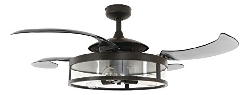 Fanaway 212927010 Classic Retractable 4-blade 3-light AC Ceiling Fan, 48 Inch, Antique Black and Smoke