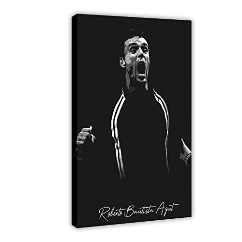 Poster vintage con sfondo nero, con firma del giocatore di tennis Roberto Bautista Agut su tela, decorazione per camera da letto, sport, paesaggio, ufficio, decorazione regalo, 30 x 45 cm
