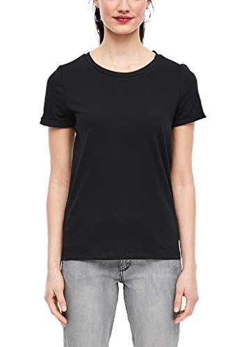 Q/S designed by - s.Oliver Damen 45.899.32.5230 T-Shirt, Black, Small (Herstellergröße: S)