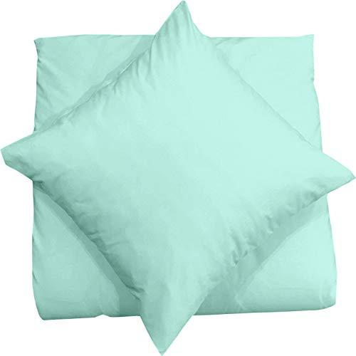 Mixibaby Juego de 2 fundas de cojín (40 x 40 cm, 100% algodón), color verde menta