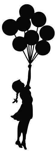 Kult Kanvas Floating Balloon Girl - Adhesivo Decorativo para Pared, diseño de niña con Globos por Banksy, Negro, L 60 cm x 164 cm