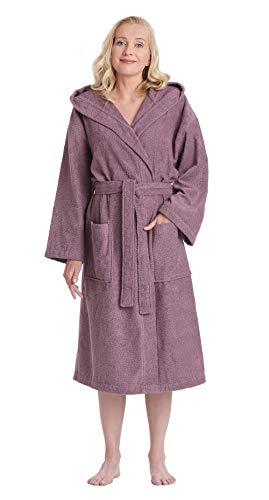 Arus Women's Classic Hooded Bathrobe Turkish Cotton Terry Cloth Robe (S/M,Plum)