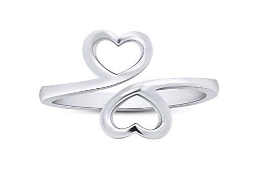 Wishrock 925 Sterling Silver Double Heart Love Adjustable Ring | Minimalist, Delicate Jewelry